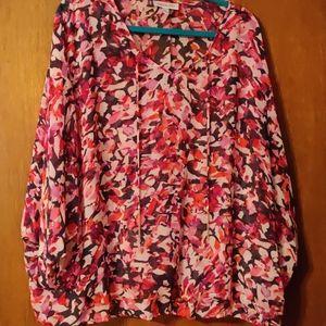 Multicolored semi sheer blouse